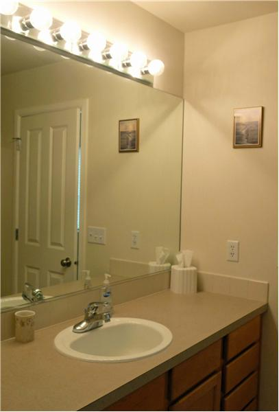 Master vanity with lots of storage area.
