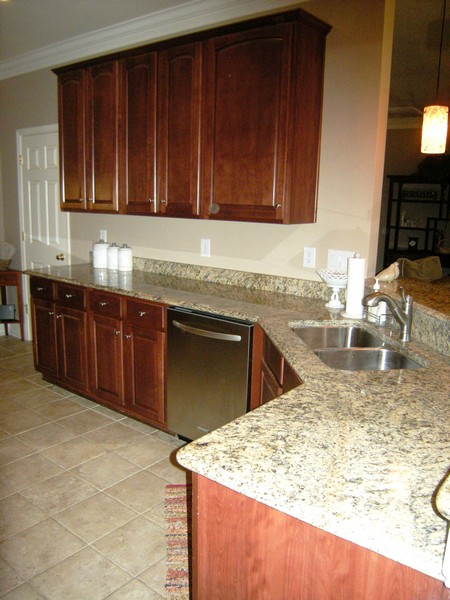 Plenty of granite countertop space for food prep